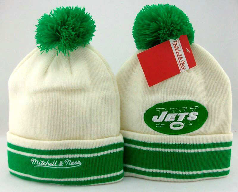 NFL New York Jets White Beanie JT
