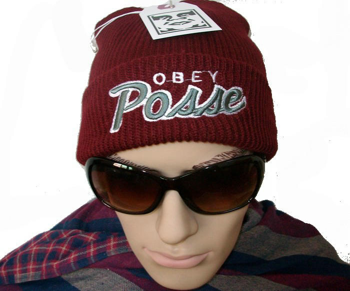 Obey Posse Cuffed Red Beanie JT