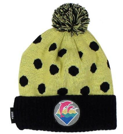 Pink Dolphin Waves Polka Yellow Beanie JT