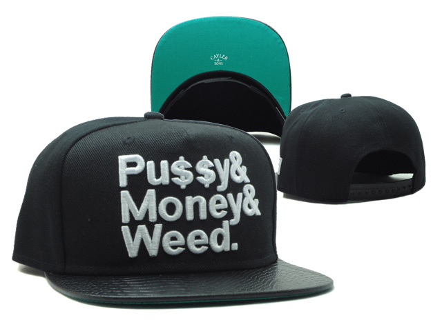 CAYLER & SONS Pussy&Money&Weed Black Snapback Hat SF 0512