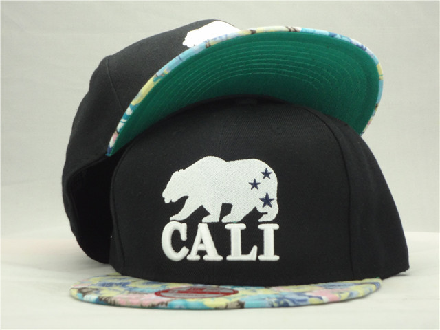 California Republic Black Snapback Hat ZY 1