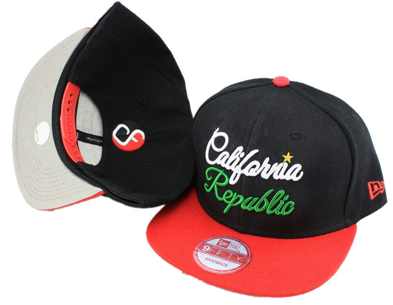 Califomia Republic Black Snapback Hat JT 0613
