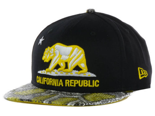 Califomia Republic Black Snapback Hat GF 1