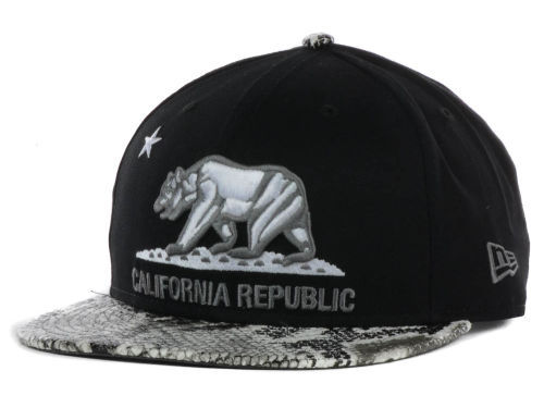 Califomia Republic Black Snapback Hat GF 3