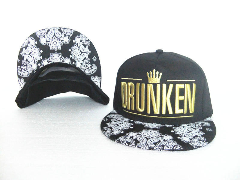 Drunken Black Snapback Hat GF 0613