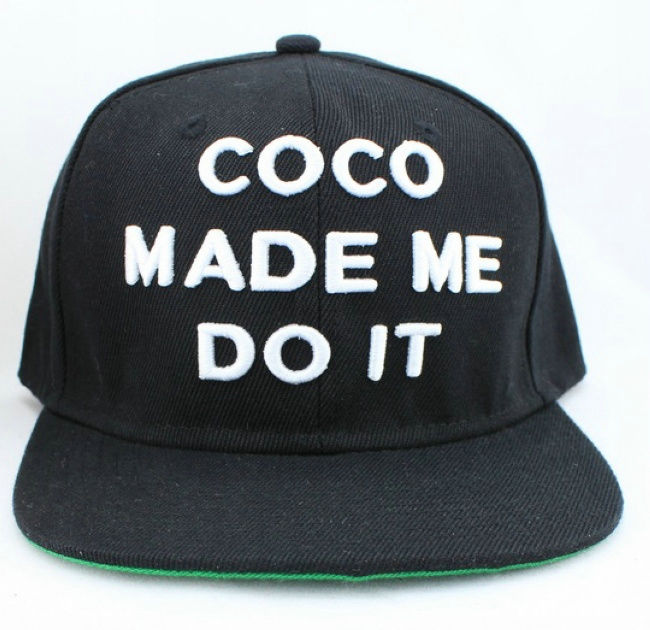 CO CO MADE ME DO IT Black Snapbacks Hat GF