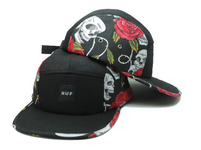 HUF 5 Panel Black Snapback Hat SF 0512