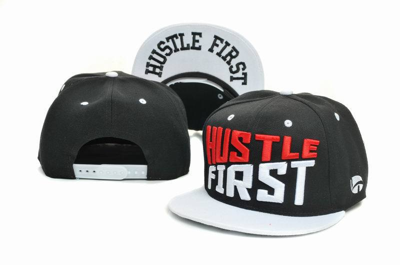 HUSTLE FIRST Black Snapbacks Hat GF