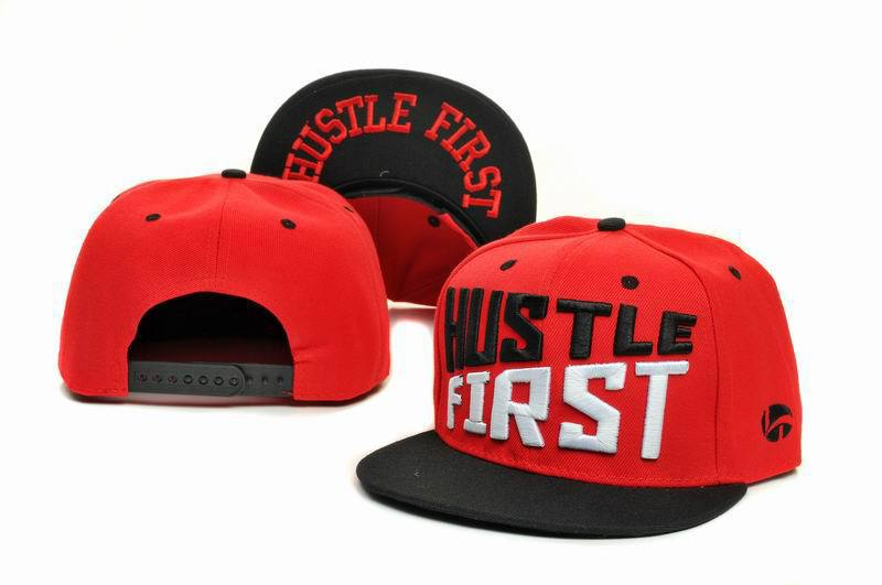 HUSTLE FIRST Red Snapbacks Hat GF