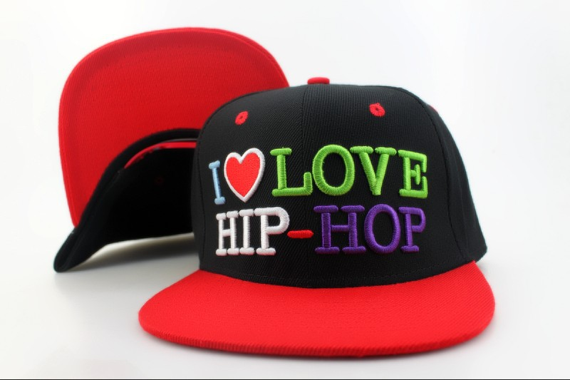 I Love HIP-HOP Black Snapback Hat QH