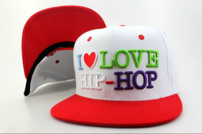 I Love HIP-HOP White Snapback Hat QH