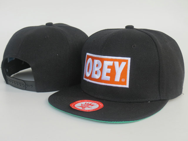Obey Black Snapback Hat LS