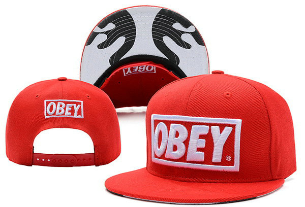 OBEY Red Snapback Hat XDF