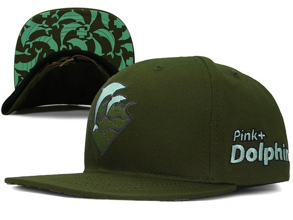 Pink Dolphin Waves Snapback Green Hat XDF 0701