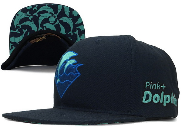 Pink Dolphin Waves Snapback Navy Hat XDF 0701