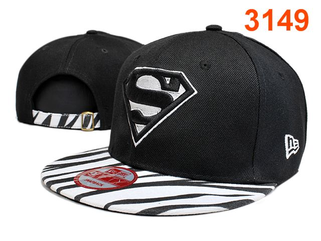 Super Man Black Snapback Hat PT 0528