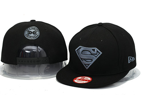 Super Man Black Snapback Hat YS 0606