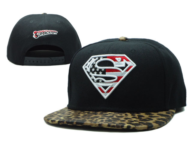 Super Man Black Snapback Hat SF 1 0701