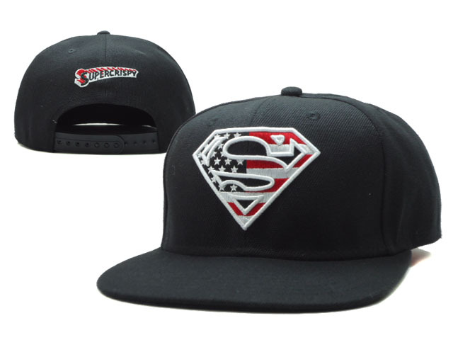 Super Man Black Snapback Hat SF 0701
