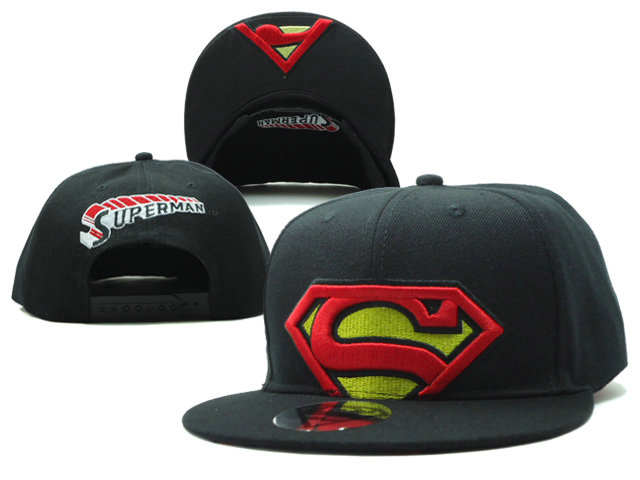 Super Man Black Snapback Hat SF 0613