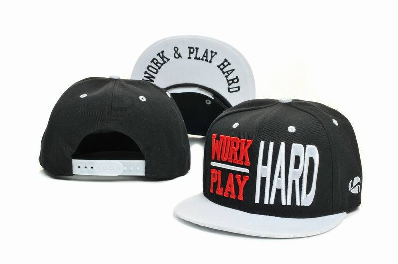 WORK & PLAY HARD Black Snapbacks Hat GF
