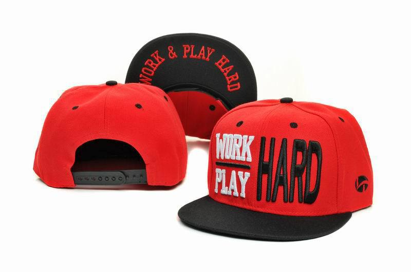 WORK & PLAY HARD Red Snapbacks Hat GF 1