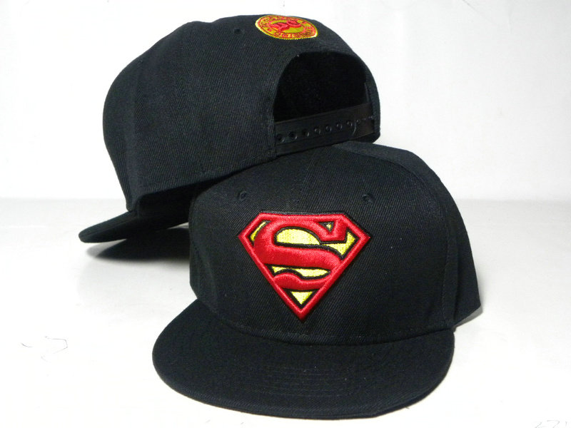 Kids Super Man Black Snapback Hat DD 1