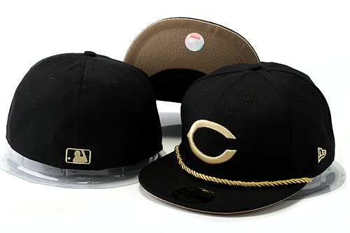 Cincinnati Reds Black Fitted Hat YS 0528