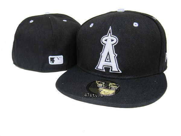 Los Angeles Angels Black Fitted Hat LX 0512