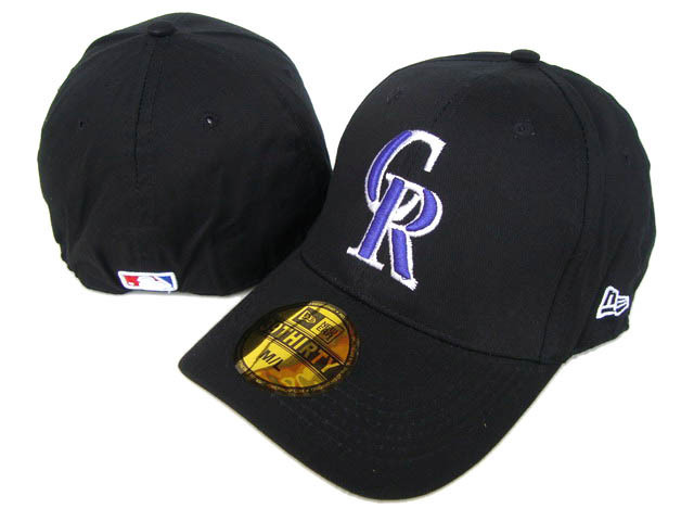 Colorado Rockies Black Peaked Cap DF 0512