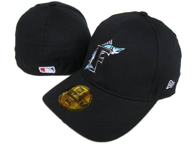 Miami Marlins Black Peaked Cap DF 0512