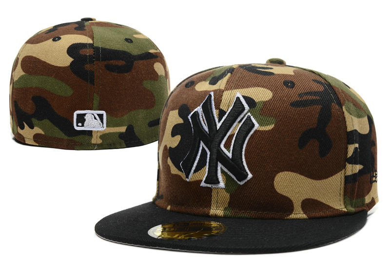 New York Yankees Camo Fitted Hat LX 1 0721