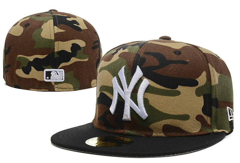 New York Yankees Camo Fitted Hat LX 0721