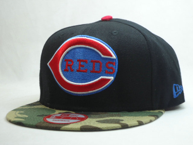 Cincinnati Reds Black Snapback Hat SF