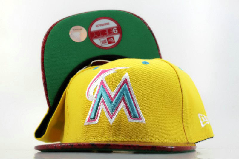 Miami Marlins Yellow Snapback Hat QH