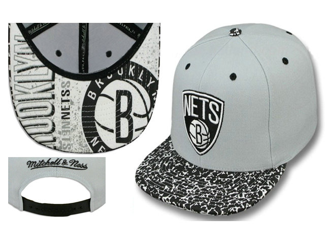 Brooklyn Nets Grey Snapback Hat LS