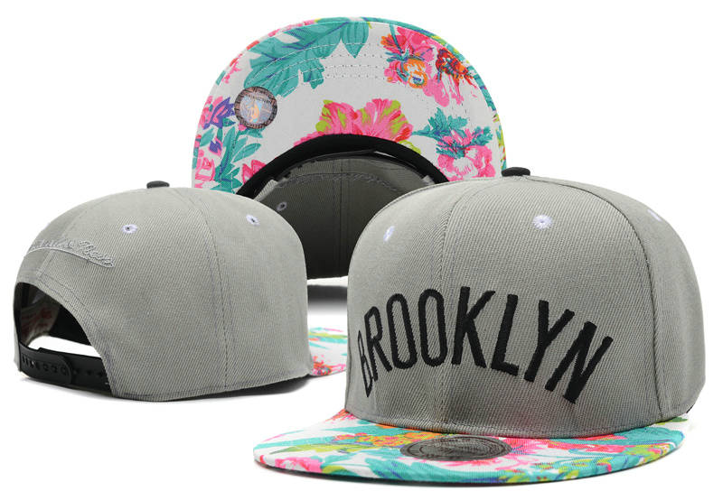 Brooklyn Nets Grey Snapback Hat DF 0721
