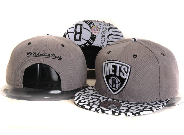 Brooklyn Nets Grey Snapback Hat YS 1