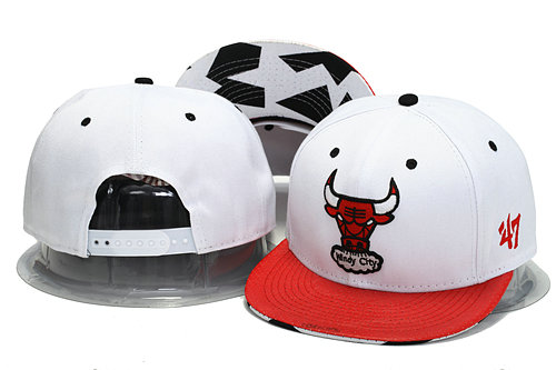 Chicago Bulls White Snapback Hat YS 0701