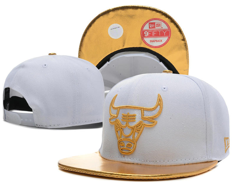 Chicago Bulls White Snapback Hat SD