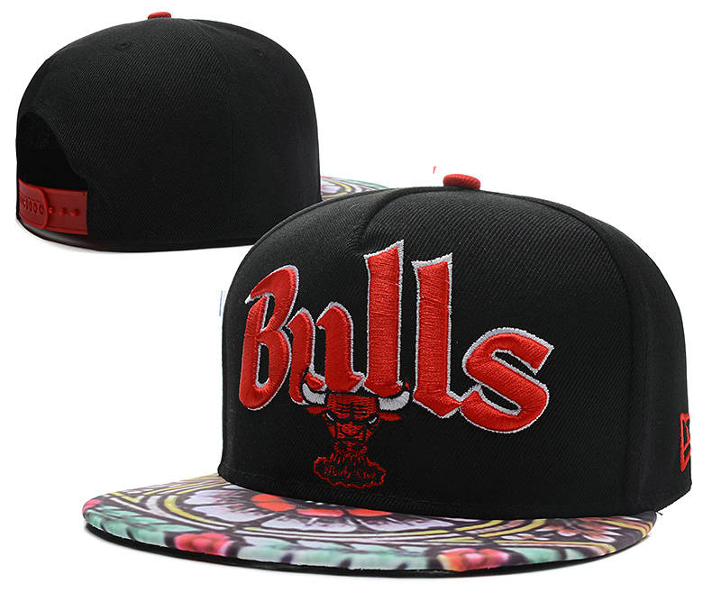 Chicago Bulls Black Snapback Hat DF 0613