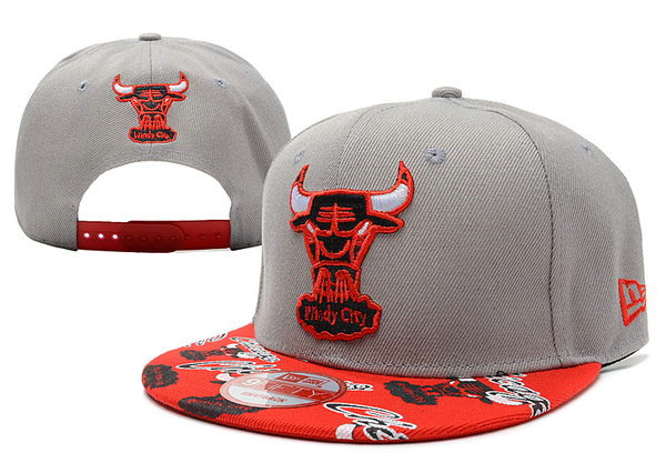 Chicago Bulls Grey Snapback Hat XDF 1