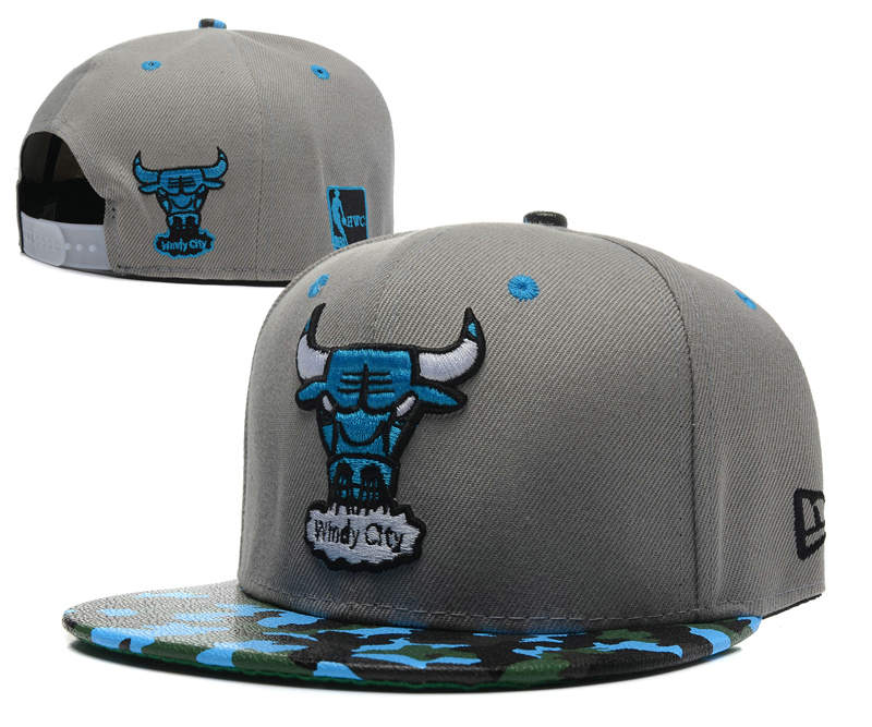 Chicago Bulls Grey Snapback Hat SD1 0512