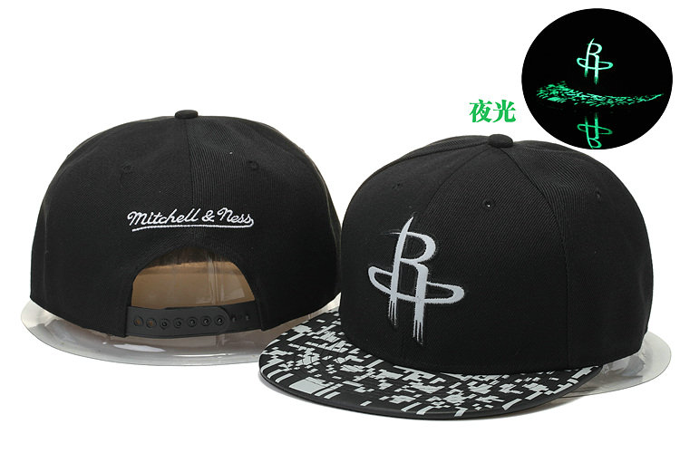 Houston Rockets Black Snapback Noctilucence Hat GS 0620