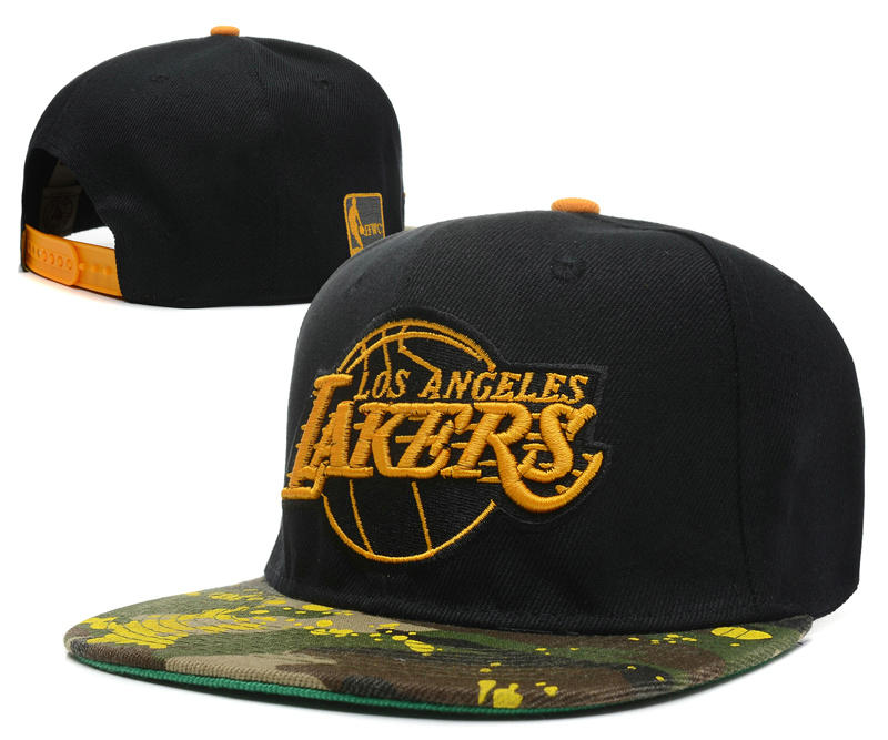 Los Angeles Lakers Black Snapback Hat DF 1