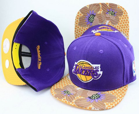 Los Angeles Lakers Flower Bill Snapback Hat JT08