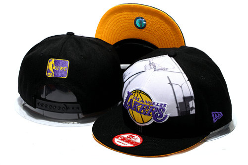 Los Angeles Lakers Black Snapback Hat YS 0512