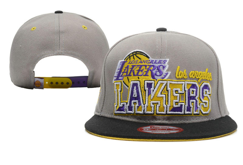 Los Angeles Lakers Grey Snapback Hat XDF 0512