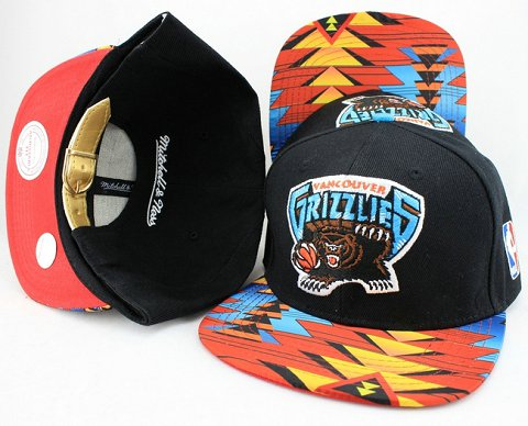 Memphis Grizzlies Navajo Retro Bill Gold Leather Strap Back Hat JT07
