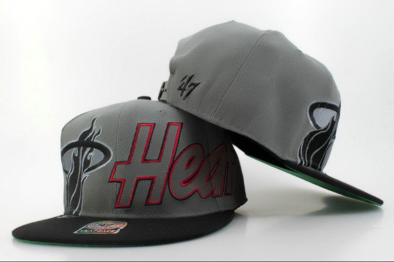 Miami Heat Grey Snapback Hat QH 0606